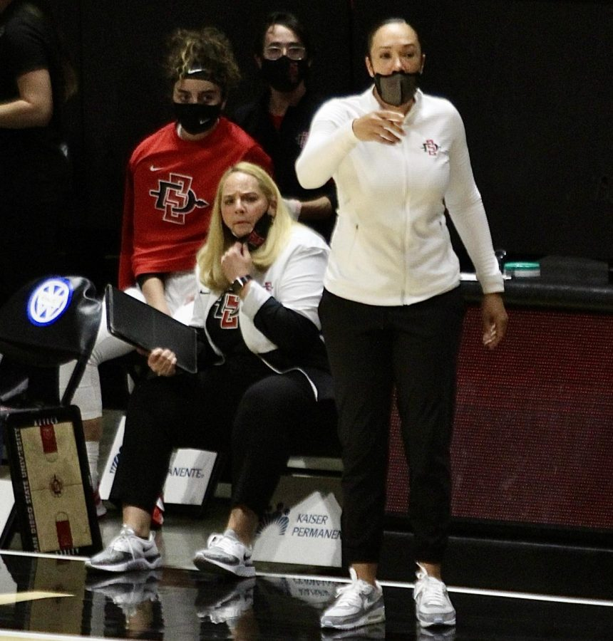 San Diego State womens basketball head coach Stacie Terry-Hutson (right) and assistant coach Marsha Frese look on during a game in the 2020-21 season at Viejas Arena.