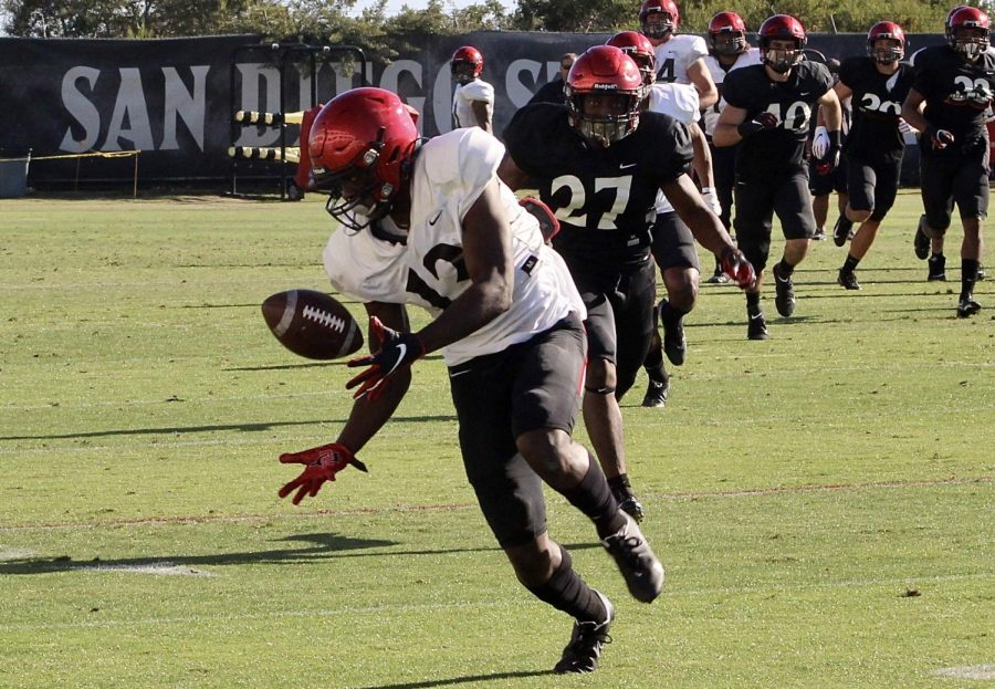 San Diego State senior wide receiver Isaiah Richardson catches a pass during the Aztecs' annual spring game on April 30, 2021 at the SDSU football practice field next to the Sports Deck.