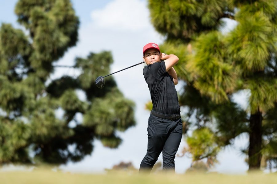 San Diego State men's golf senior Puwit Anupansuebsai swings his driver during the Lamkin Invitational on March 10, 2021 at The San Diego Country Club in Chula Vista, Calif.