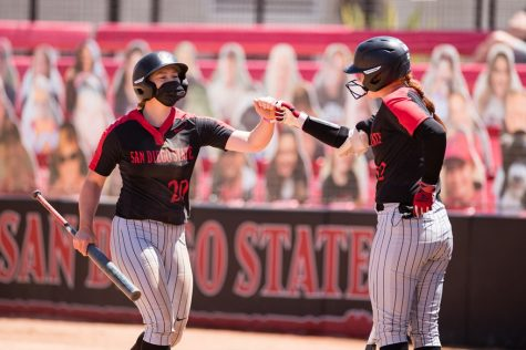 San Diego State softball senior shortstop Shelby Thompson (left) high-fives junior utility player/catcher Danielle Romanello (right) during the Aztecs