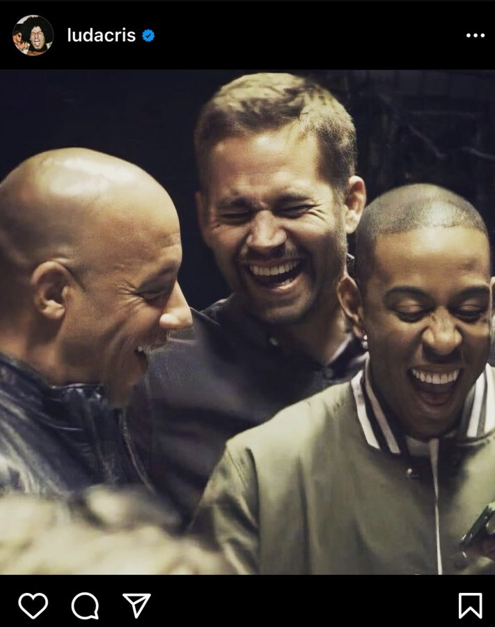 Screenshot from Ludacriss Instagram commemorating the release of F9: The Fast Saga and honoring Paul Walkers memory.