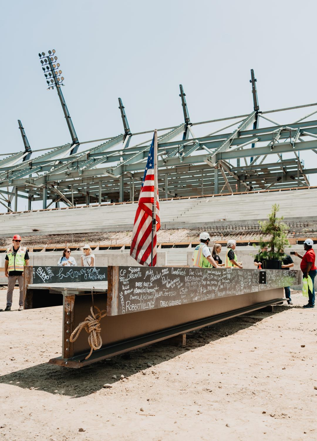One of the 2,500 steel beams that makes up the stadium structure.