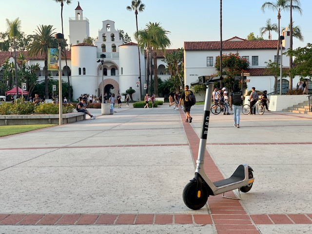 Electric+scooter+located+on+campus+near+Hepner+Hall.