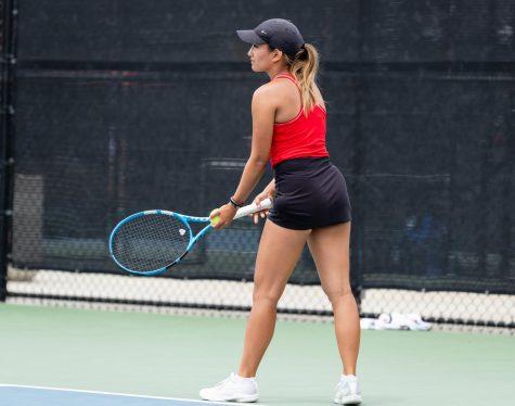 Tamara Arnold prepares a serve (Courtesy of SDSU Athletics)