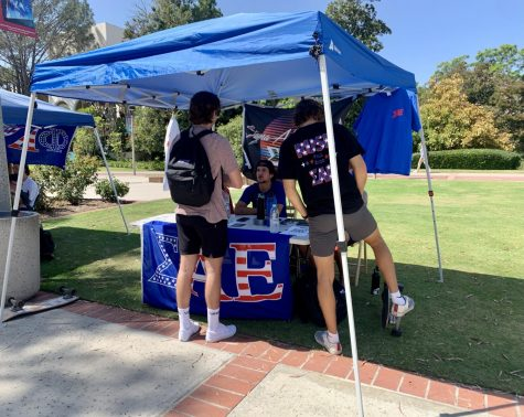 SAE members tabling in the Campanile Walkway on Sept. 9. Signups for new members were light this day, according to some of the members.