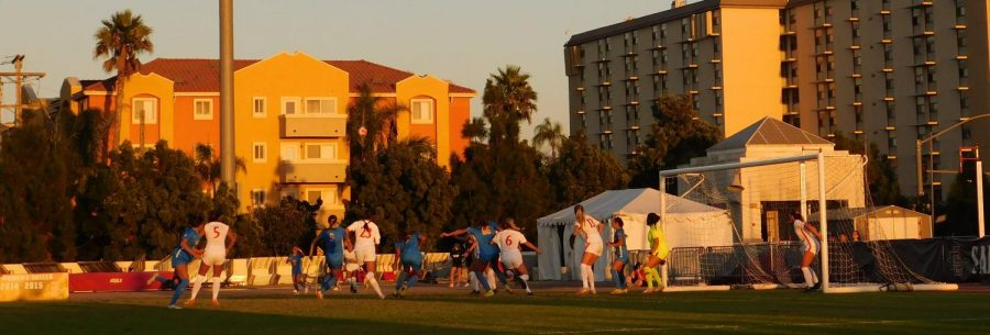San Diego State womens soccer during their match against UCLA on Sept. 19.