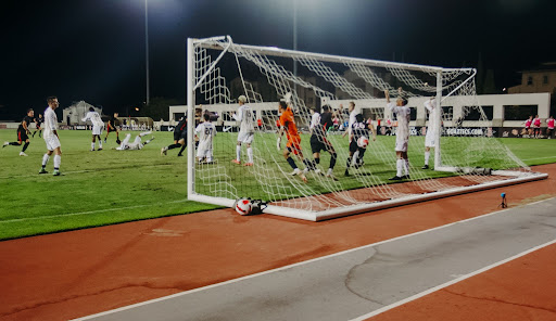 The Aztecs celebrate a goal they scored in the final minutes of play.