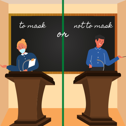 Graphic of teacher on the left wearing mask and teacher on the right not wearing mask.