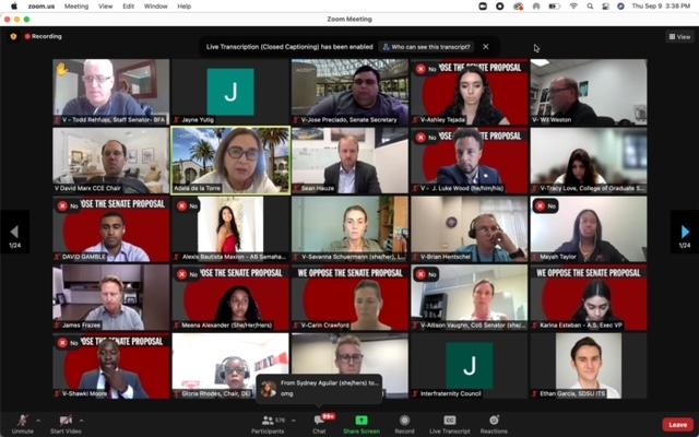 Screen+shot+shows+President+Adela+de+la+Torre+and+senate+members+on+Zoom+meeting.
