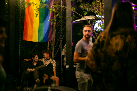There are lots of items that make the place stand out, including neon signs, pride flags and a memorial disco ball.