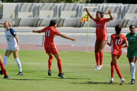 Emma Gaines-Ramos (#5) celebrates her first collegiate goal at the game against Utah State on Sunday, Oct. 3.