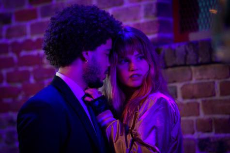 NIGHT TEETH (2021). Jorge Lengeborg Jr. as Benny ans Deborah Ryan Papp as Blaire.