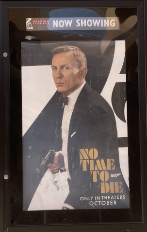 No Time to Die poster displaying outside of Reading Cinemas in La Mesa, CA.