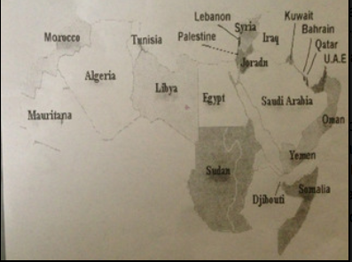 The map given to students omitting Israel.