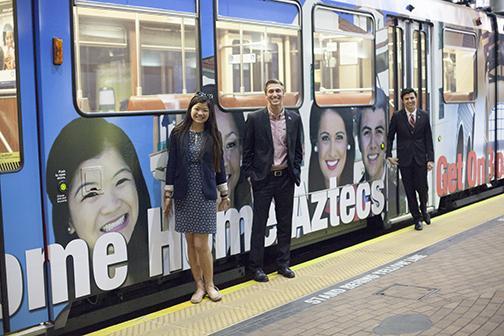Aztec-themed trolley rolls in San Diego