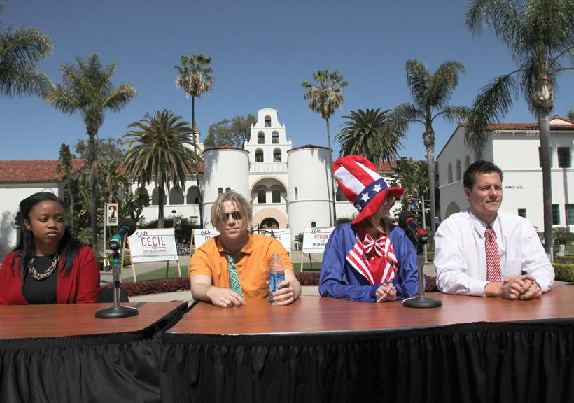 Executive VP candidates debate alongside presidential candidates in front of Hepner Hall. Wed., March 7, 2012 | Antonio Zaragoza, Photo Editor