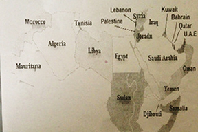 Prof. Ghassan Zakaria circulated this map in his Arabic 101 course at SDSU.