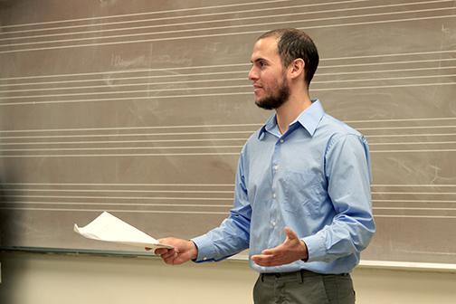 Sam Zahn a SDSU graduate student discusses his paper on