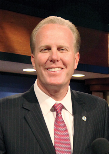 SD Mayoral frontrunner Kevin Faulconer was all smiles at the KPBS debate in October.