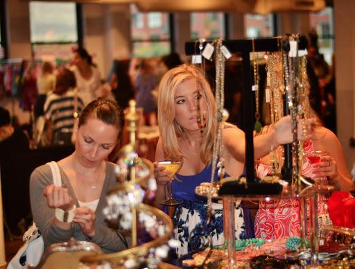 Women trying on jewelry