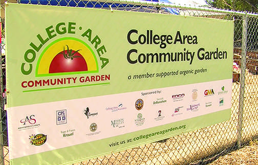 College Area Community Garden banner