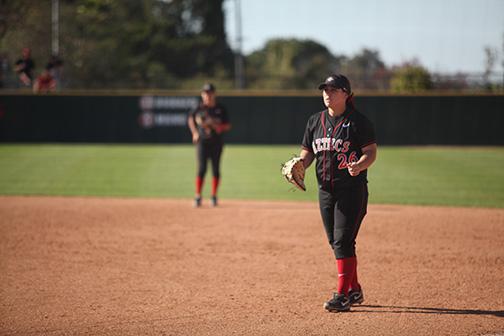 SDSU softball player about to pitch