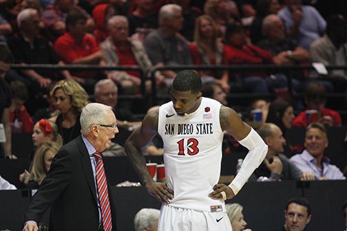 SDSU basketball coach Steve Fisher and Winston Shepard