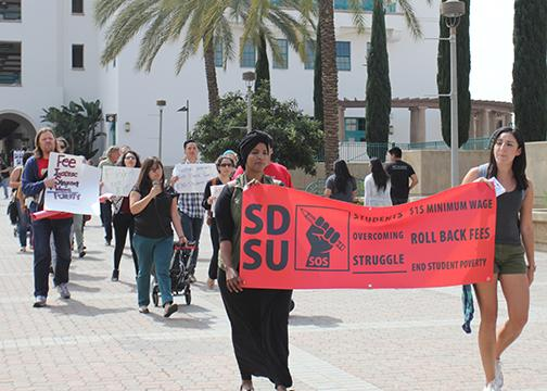 Rally at SDSU calls for $15 minimum wage