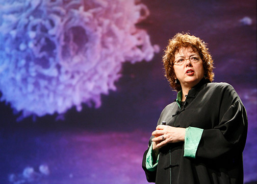 Laurie Garrett speaking at Poptech 2008. Garrett recently came to San Diego State to speak about Ebola. Photographed by Kris Krug.