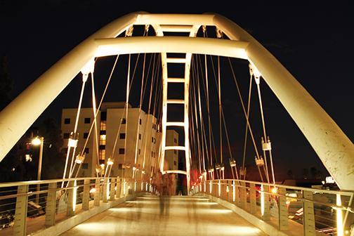 The footbridge over College Ave.