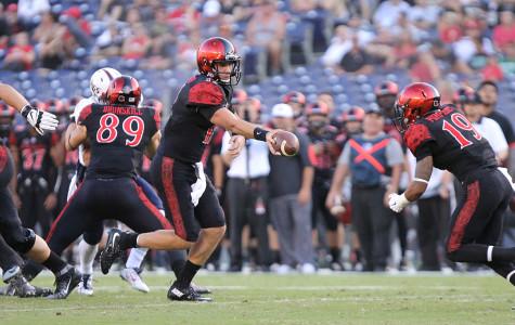 Opposing columns: SDSU football vs. Penn State
