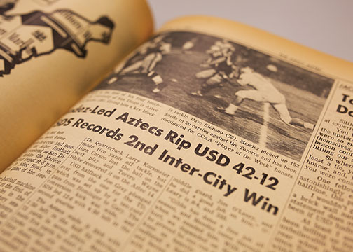 The Daily Aztec's sports section in November 1961 chronicles the only time SDSU and USD locked horns in football.