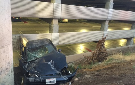 No one seriously injured after car skids off road into SDSU parking structure