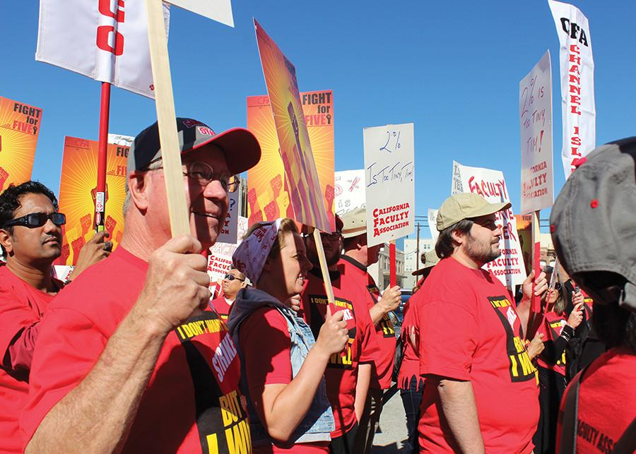 Students join CSU faculty in protest for higher pay