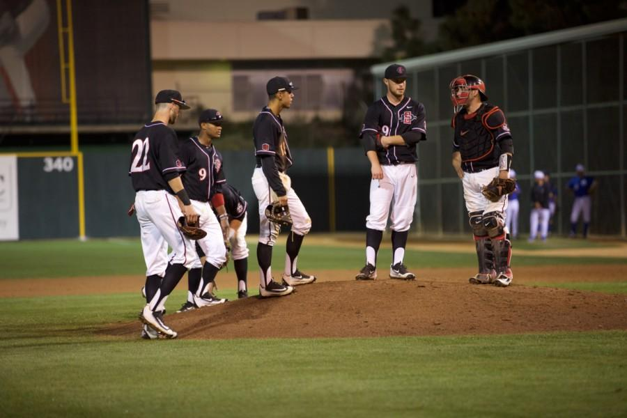 SDSU+baseball+opens+conference+play+with+3-2+loss+in+extra+innings+to+Fresno+State