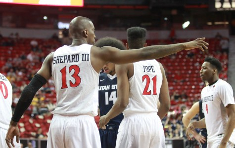 Photo Gallery: Halftime SDSU vs. Utah State at Mountain West Tournament
