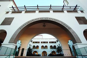 The walkway into the Conrad Prebys Aztec Student Union.