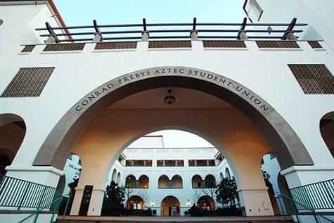 The walkway into the Conrad Prebys Aztec Student Union.