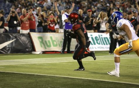Junior running back Rashaad Penny scores his first of three touchdowns in the Aztecs' 42-3 win over San Jose State Univeristy.