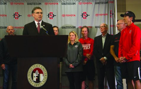San Diego State AD John David Wicker addresses the crowd at his introductory press conference.