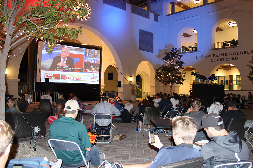 Students waiting for the results of the tight presidential election to come in at the Conrad Prebys Aztec Student Union.
