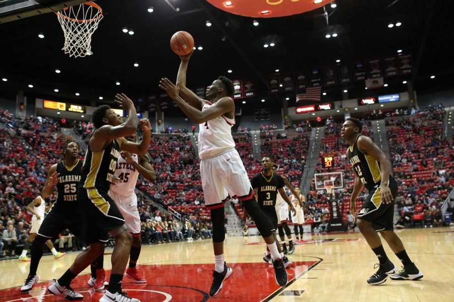 Senior guard Dakarai Allen puts up a floater in SDSU's 75-40 win over Alabama State.