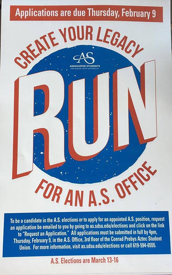 A.S. encourages students to apply for office