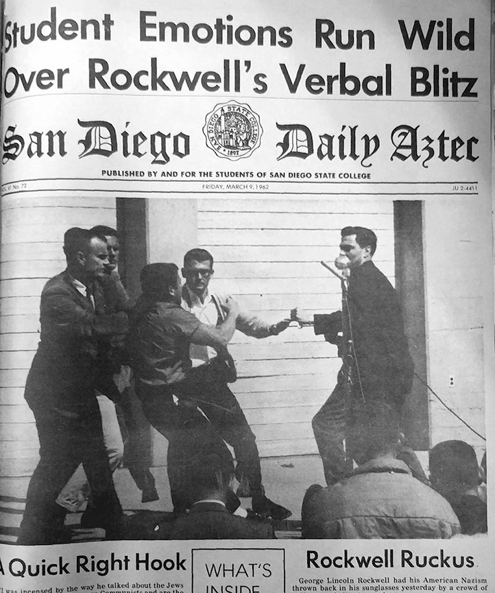Physical Education Senior Ed Cherry is pulled off of American Nazi Party Leader George Lincoln Rockwell at a 1962 speech on campus