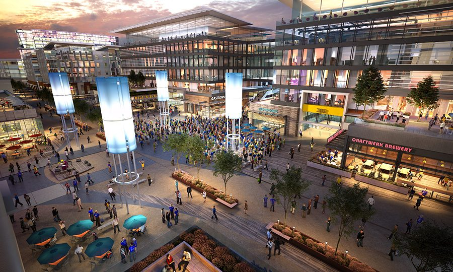 Rendering of the proposed SoccerCity event plaza. Courtesy of FS Investors