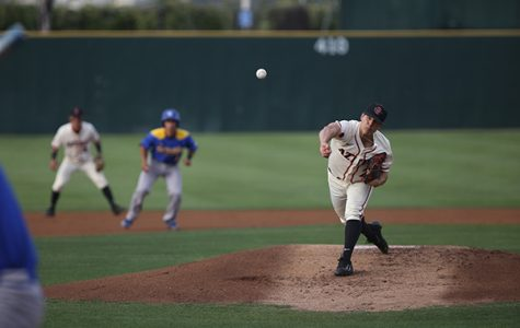 Junior right-hander Jorge Fernandez tosses a pitch against UCSB.