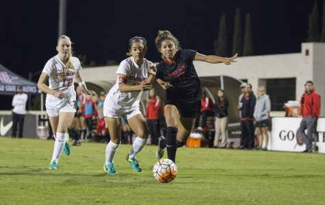 SDSU senior forward Aliyah Utush dribbles down the field against New Mexico in a game during the 2016 season.