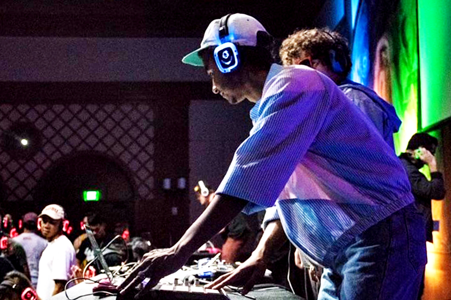 Hi-Fi performs one of his sets at a SDSU silent disco event winter 2016.