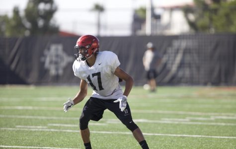 SDSU redshirt sophomore cornerback Ron Smith participating in a drill during fall practice.