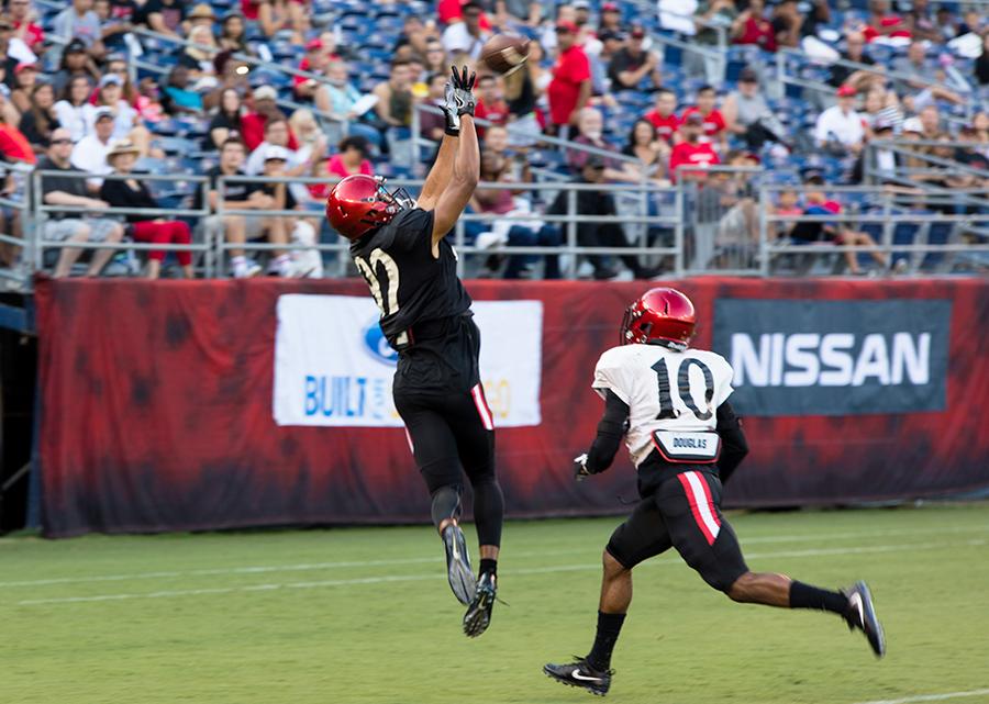 Redshirt freshman receiver Isiah Macklin hauls in a touchdown reception during SDSU's Fan Fest.